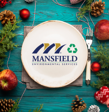 Holiday dinner  place setting with City of Mansfield Environmental Services logo