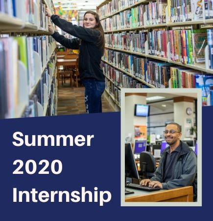 "Internship graphic with volunteer shelving books, man at a computer, and the text ""Summer 2020 In"