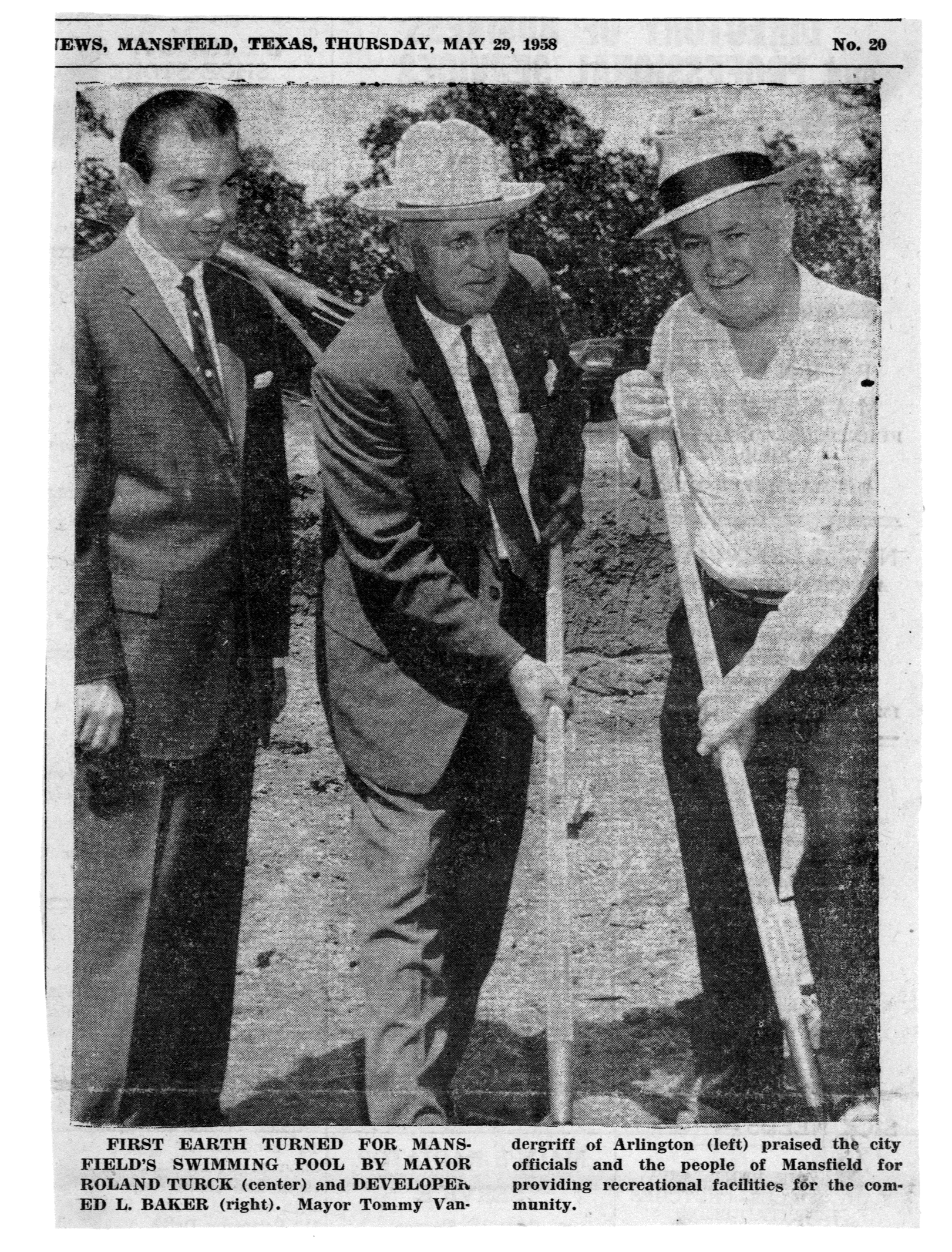 Adjacent Pool groundbreaking June 1958