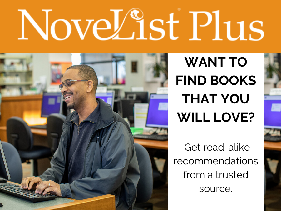 "Novelist resource and logo, text stating ""Want to find books that you will love?   Get read-alike"