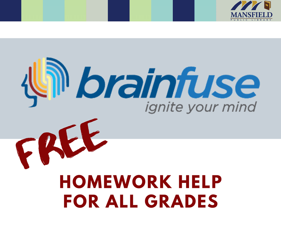 "Brainfuse logo, free homework help image, text reads ""homework help for all ages"""