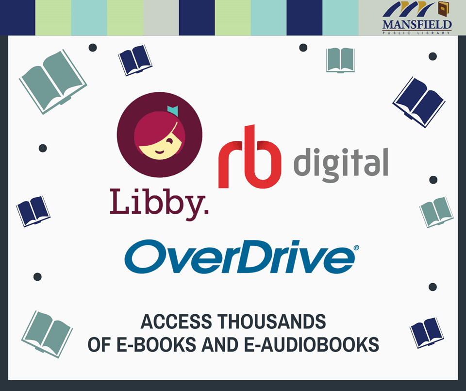 "rb digital and overdrive logo with text reading ""access thousands of e-books and audiobooks"""