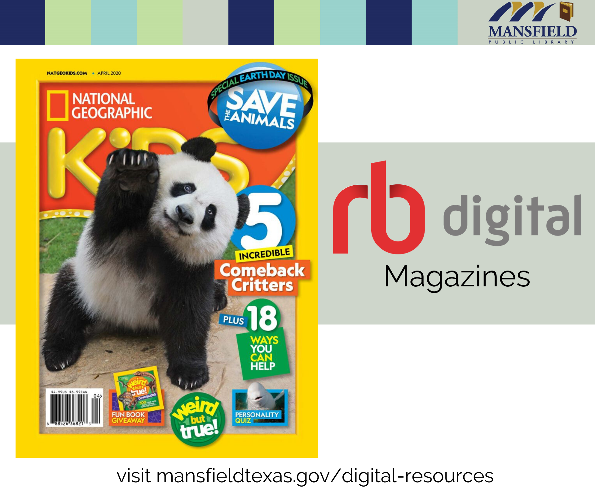 RB Digital Magazines logo with a magazine picture of a panda on the cover of National Geographic