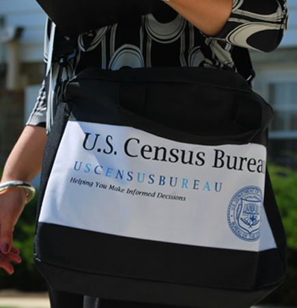 Census worker with bag