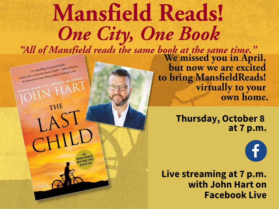 Mansfield Reads October 8 event in orange background with John Hart picture and book.