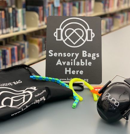 sensory bags available here sign and headphones