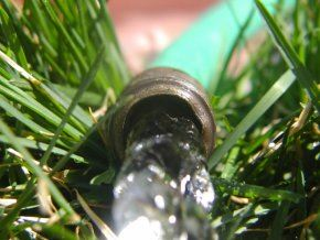 Water Hose Running in Grass