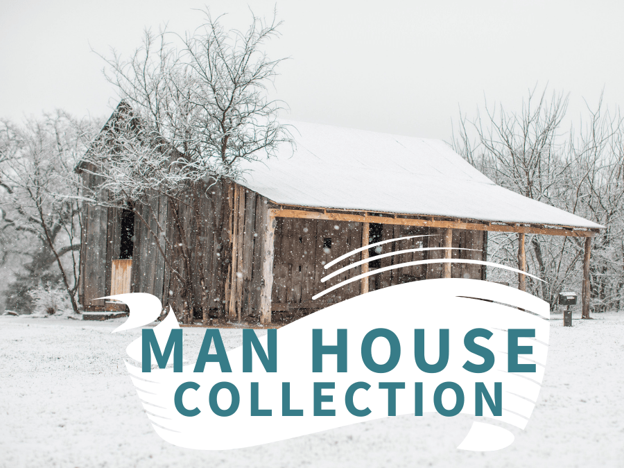 Man House collection with snowy barn