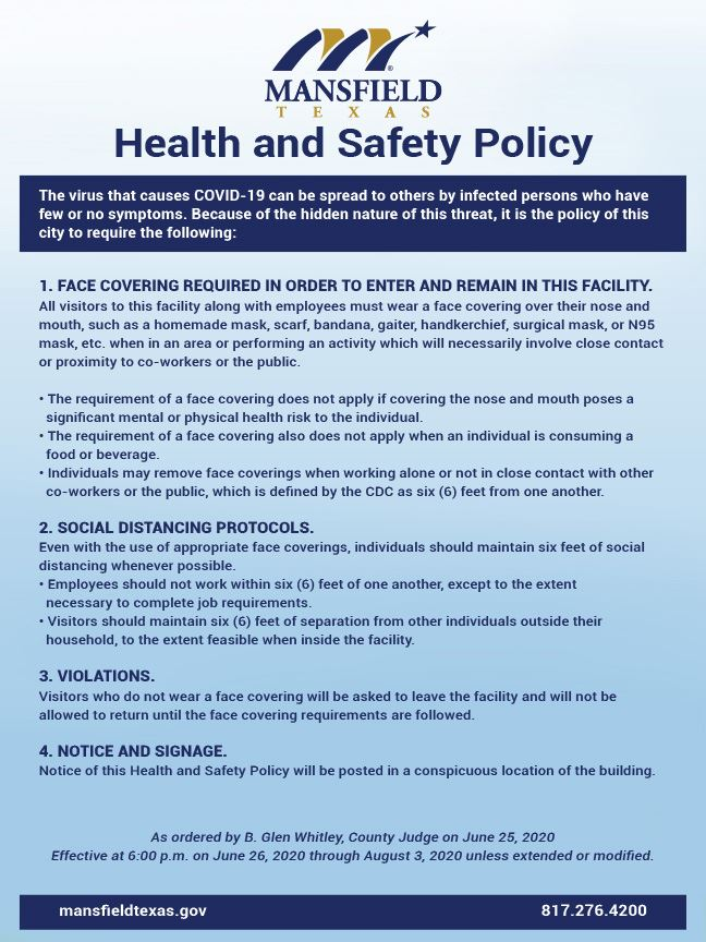 City of Mansfield Health and Safety Policy