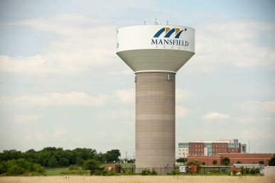 Mansfield Water Tower with Hospital in Background